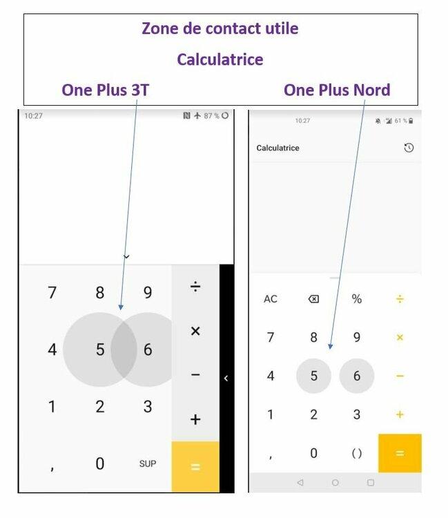 Zone de contact calculatrice One plus 3T et Nord.JPG